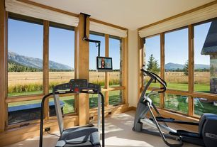 Craftsman Home Gym with Yowza fitness captiva elliptical, Pottery barn carson linen/cotton cordless roman shade