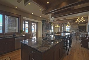 Craftsman Kitchen with Pendant light, French doors, High ceiling, Complex granite counters, One-wall, Exposed beam, Flush