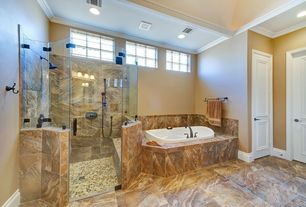 Traditional Master Bathroom with High ceiling, Master bathroom, frameless showerdoor, Crown molding, specialty door