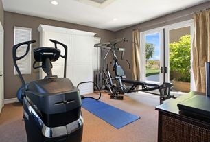 Contemporary Home Gym with Marcy 150 lbs. Stack Gym, Carpet, Valeo Body Ball, Theraband mat - 24 x 75 x 1, French doors