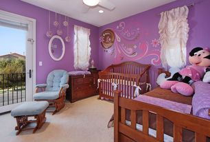 Modern Kids Bedroom with Carpet, interior wallpaper, specialty window, Ceiling fan, Standard height, can lights, flush light