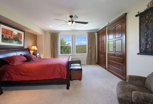 Traditional Guest Bedroom with Ceiling fan, Carpet