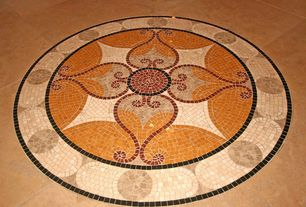 Mediterranean Entryway with Custom Mosaic Floor Medallion