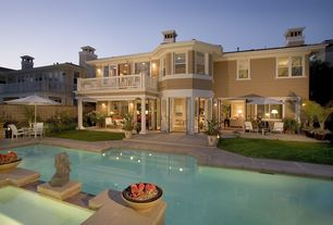 Traditional Swimming Pool with Fence, Deck Railing, French doors, Paint 1, double-hung window, exterior tile floors