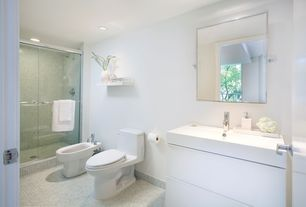 Contemporary 3/4 Bathroom with can lights, three quarter bath, ceramic tile floors, framed showerdoor, specialty door, Shower
