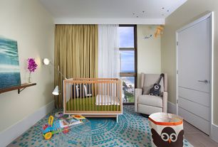 Contemporary Kids Bedroom with no bedroom feature, Laminate floors, Standard height, double-hung window, flat door