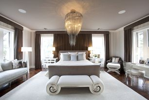 Contemporary Master Bedroom with Tapered floor lamp, Draped chandelier