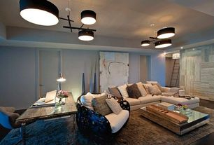 Contemporary Basement with Tam tam 5 pendant by marset, Paint 1, Jonathan adler delphine coffee table