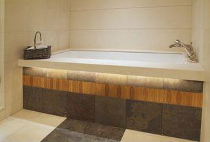 Contemporary Full Bathroom with High ceiling, limestone tile floors, Arizona tile, RUSTIC GOLD, Slate, slate tile floors