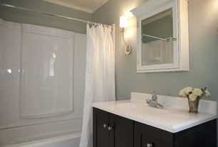 Contemporary Full Bathroom with Crown molding, Simple Marble, Early american medicine cabinet, Full Bath, plastic showerbath