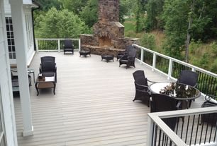 Traditional Deck with Outdoor furniture, Deck Railing, Outdoor seating, stone fireplace, Wood decking