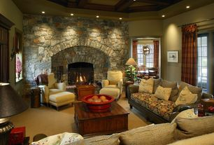 Eclectic Living Room with French doors, Crown molding, stone fireplace, Stacked stone wall, Carpet, Exposed beam