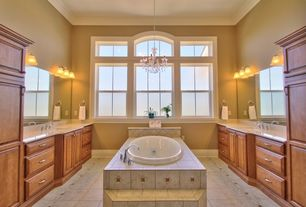 Traditional Master Bathroom with Inset cabinets, Simple Granite, Arizona tile, NU TRAVERTINE SERIES, Ceramic & Porcelain