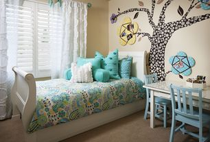 Contemporary Kids Bedroom with Carpet, Kohls - mi zone simi comforter, NE Kids Schoolhouse Sleigh Bed, Mural