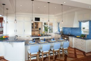 Contemporary Kitchen with Kitchen island, Custom hood, Daltile Natural Hues Azure Ceramic Floor & Wall Tile, Crown molding