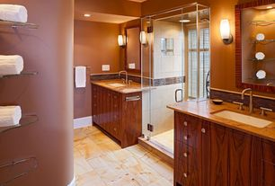 Modern Master Bathroom with Complex Granite, frameless showerdoor, Flush, Wall sconce, Wood counters, Undermount sink