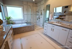 Contemporary Master Bathroom with Rain shower, European Cabinets, Arizona tile, BROWN SERPEGGIANTE CC, Marble, Inset cabinets