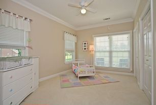 Traditional Kids Bedroom with Crown molding, double-hung window, French doors, Standard height, Carpet, Ceiling fan