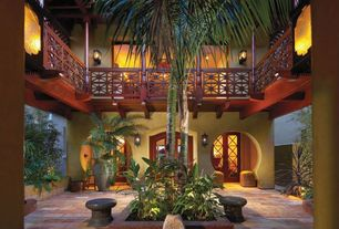 Asian Patio with Keyhole doorway, Teak railing, Courtyard, Balinese style, Teak beams, Courtyard palm trees