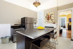 Modern Kitchen with Pendant light, Flush, Oak - Maize 3 1/4 in. Solid Hardwood Plank, Concrete counters, Kitchen island