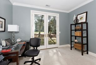 Contemporary Home Office with HON Comfortask Multi-Task Swivel/ Tilt Chair, French doors, Carpet, Crown molding