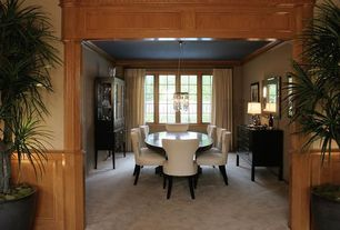 Traditional Dining Room with Carpet, Crown molding, Chandelier