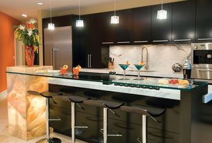 Contemporary Kitchen with Kitchen island, Breakfast bar, Undermount sink, Flush, large ceramic tile floors, electric cooktop