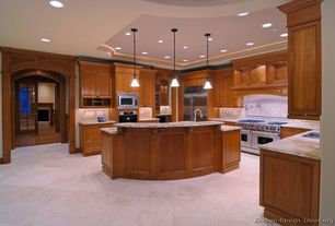 Contemporary Kitchen with Pendant light, French doors, Custom hood, Kitchen island, MS International Ivory Fantasy Granite