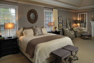 Traditional Master Bedroom with Paint, Jeffan sandra round center mirror, Wisteria x-base stool, Round wall mirror