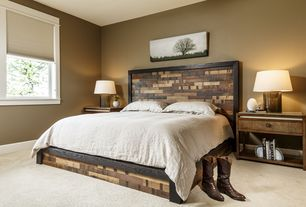 Contemporary Master Bedroom with Arteriors Home Zelda Amber Luster Glass and Antique Brass Lamp, Agate Bookends