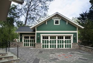 Craftsman Garage with Standard height, Interlocking Pavers, picture window, Wall sconce, six panel door, Transom window