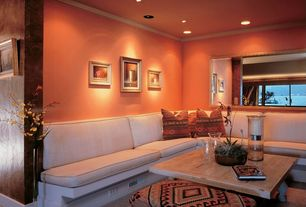 Contemporary Living Room with Crown molding, Tribal, Indian, Geometric, Brown Hue Throw Pillows, Blown Glass Hurricanes