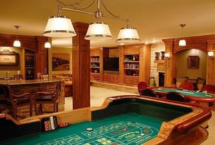 Traditional Game Room with Wall sconce, Columns, Carpet, Pendant light