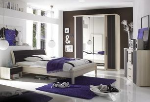 Contemporary Master Bedroom with Safavieh - cozy solid purple shag rug, Standard height, Paint, Pendant light, picture window