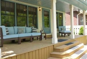 Traditional Porch with Fence, French doors, Screened porch