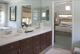 Contemporary Master Bathroom with Crown molding, Standard height, partial backsplash, Master bathroom, Vinyl floors, Bathtub