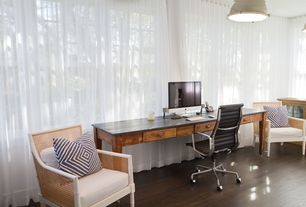 Contemporary Home Office with specialty window, Laminate floors, Pendant light, Standard height