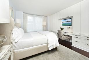 Contemporary Guest Bedroom with Safavieh Lena End Table, Built-in bookshelf, West Elm Hand-Loomed Shine Rug - Mountain Mist