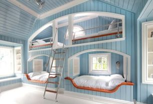 Cottage Guest Bedroom with Paint 1, Built-in bookshelf, High ceiling, double-hung window, Window seat, Wall sconce, Bunk beds
