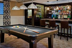 Modern Game Room with Pottery barn seagrass barstool, Aramith Super Pro Value Ball Pak