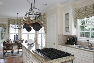 Traditional Kitchen with Ms international puebla travertine tumbled tile, Simple granite counters, One-wall, Pendant light