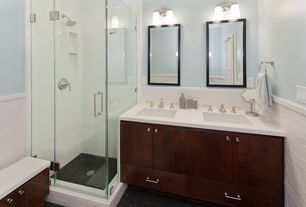 Contemporary 3/4 Bathroom with Large Ceramic Tile, Undermount sink, frameless showerdoor, European Cabinets, Double sink