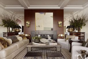 Contemporary Living Room with Box ceiling, Cymax Riverside Medley Coffee Table, Restoration Hardware Maxwell Upholstered Sofa