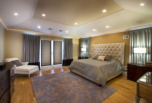 "Contemporary Master Bedroom with Crown molding, Bruce Flooring Dundee 2.25"" Solid Red / White Oak Flooring in Gunstock"