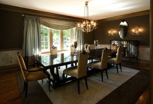 Traditional Dining Room with Chandelier, Laminate floors, Chair rail, Wall sconce, Casement, interior wallpaper, Wainscotting
