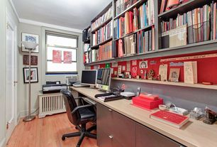 Modern Home Office with Radiator cover, Built-in bookshelf, Uline Lateral 2 Drawer File Cabinet, Ikea - torkel swivel chair