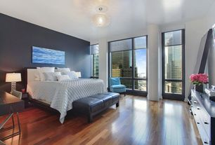 Contemporary Master Bedroom with Globe chandelier, Bellawood brazilian walnut solid hardwood flooring, Hardwood floors