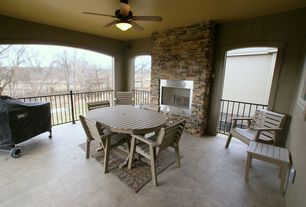 Country Porch with Outdoor kitchen, exterior tile floors, Wrap around porch