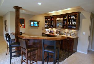 Traditional Bar with Built-in bookshelf, Pacific Ledge Stone Cordovan Flats 10 sq. ft. Handy Pack Manufactured Stone, Columns