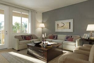 Modern Living Room with Carpet, picture window, Standard height, French doors